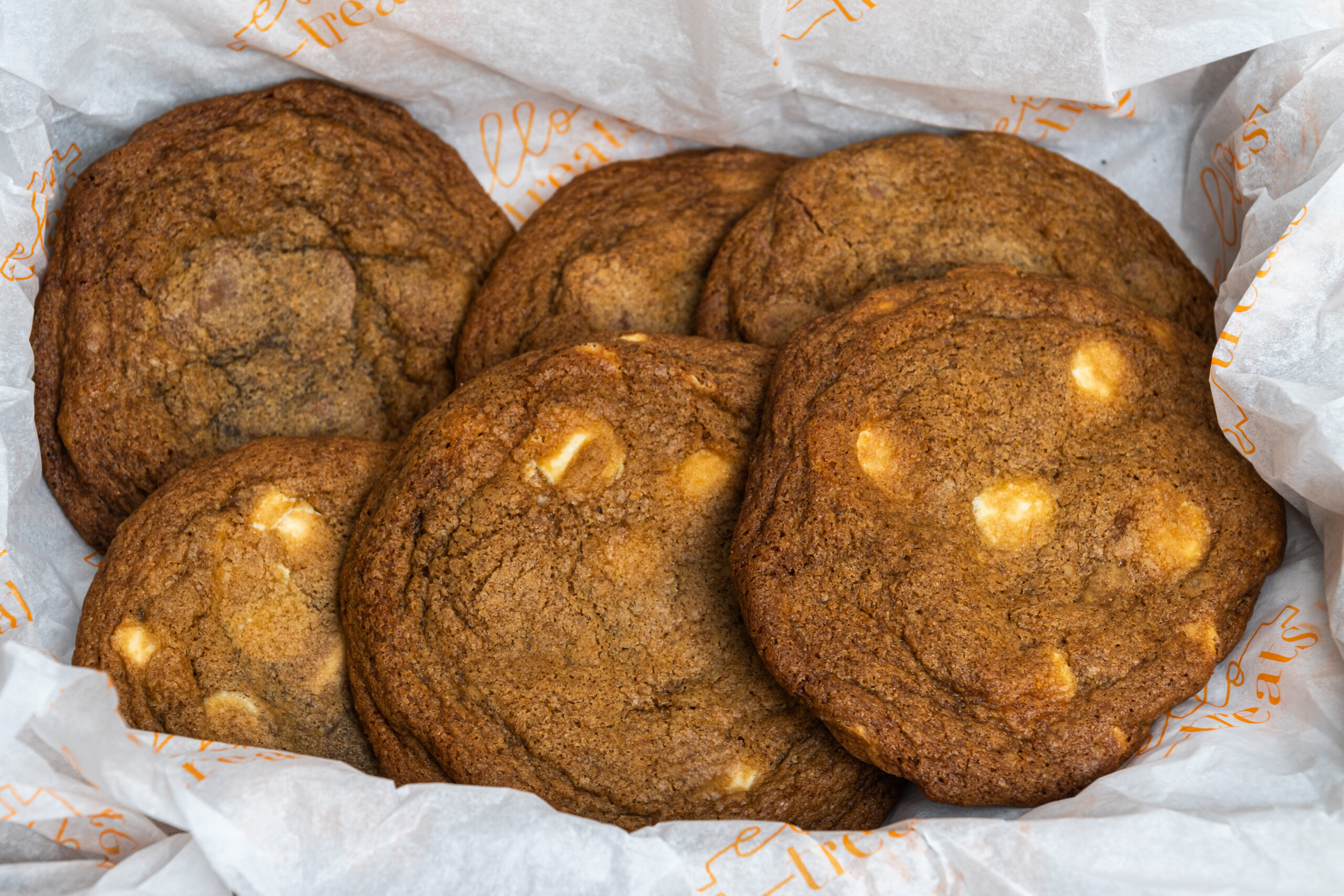 6 thin cookies with white chocolate chips up close